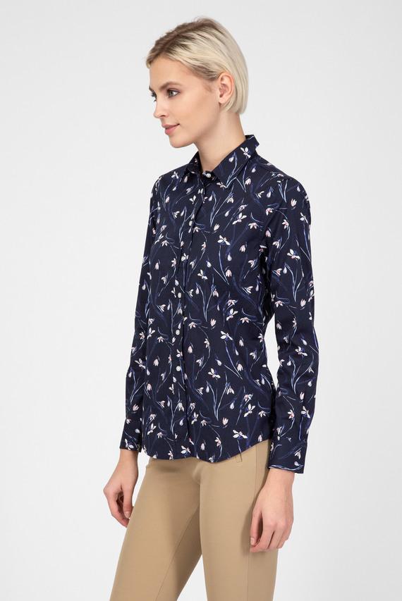 Женская синяя рубашка с принтом