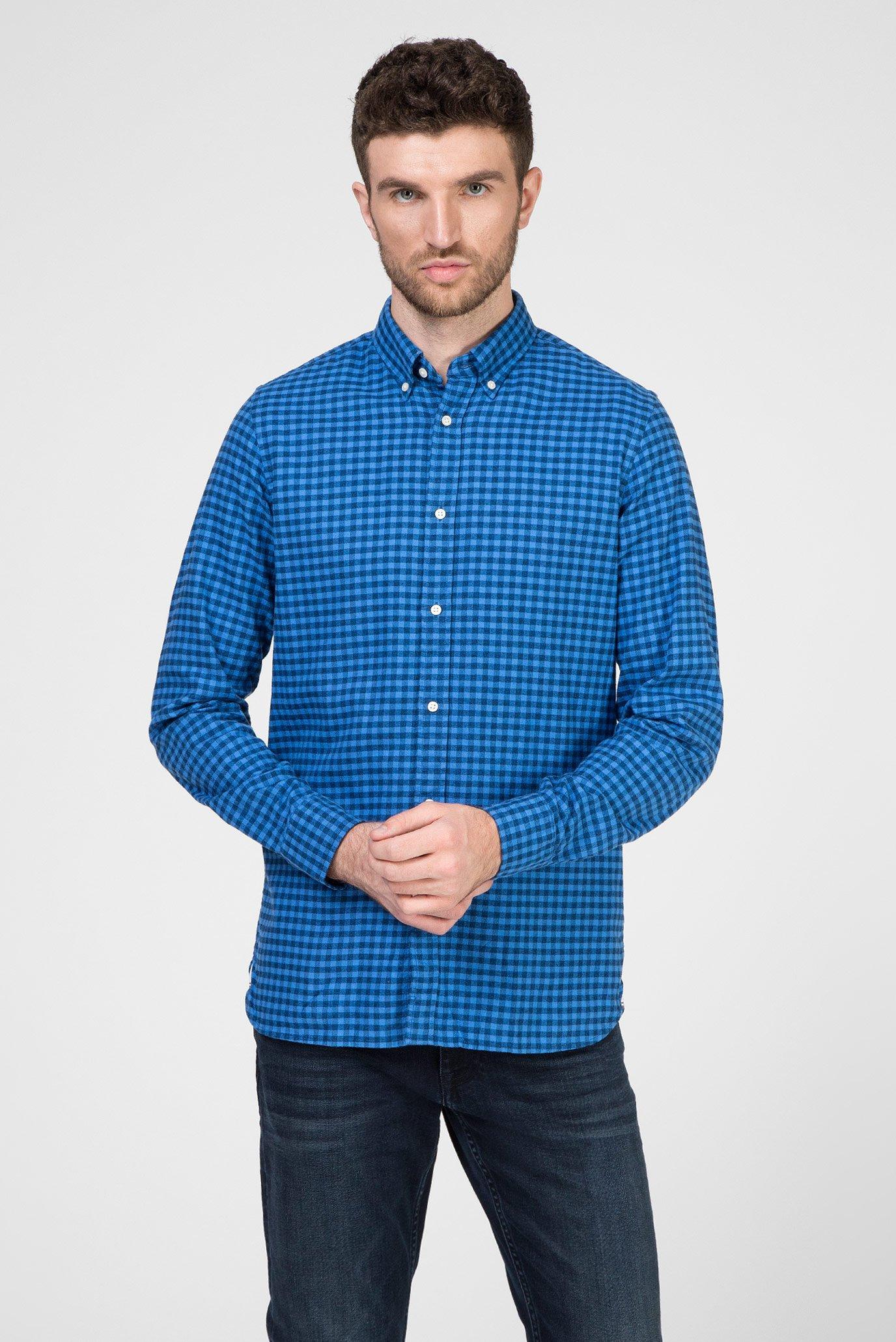 Чоловіча синя сорочка у клітинку SLIM GLOBAL STRIPE GINGHAM 1