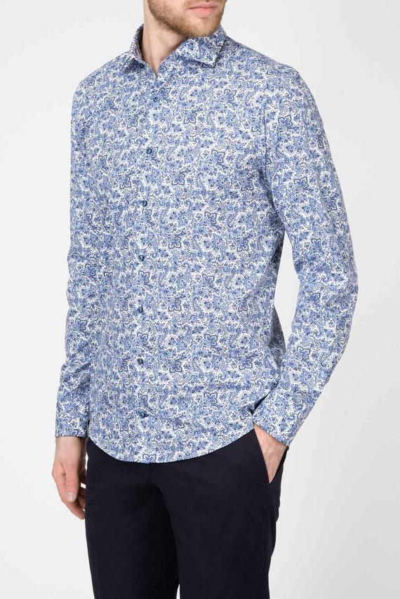 Мужская синяя рубашка с принтом