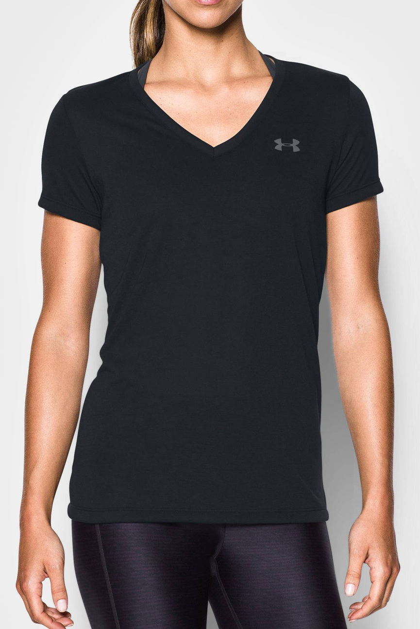 Женская черная футболка Threadborne Train SSV
