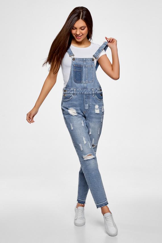 Женский голубой джинсовый комбинезон