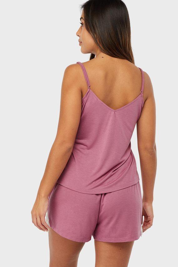 Женская розовая пижама Teya Plain Vest Set