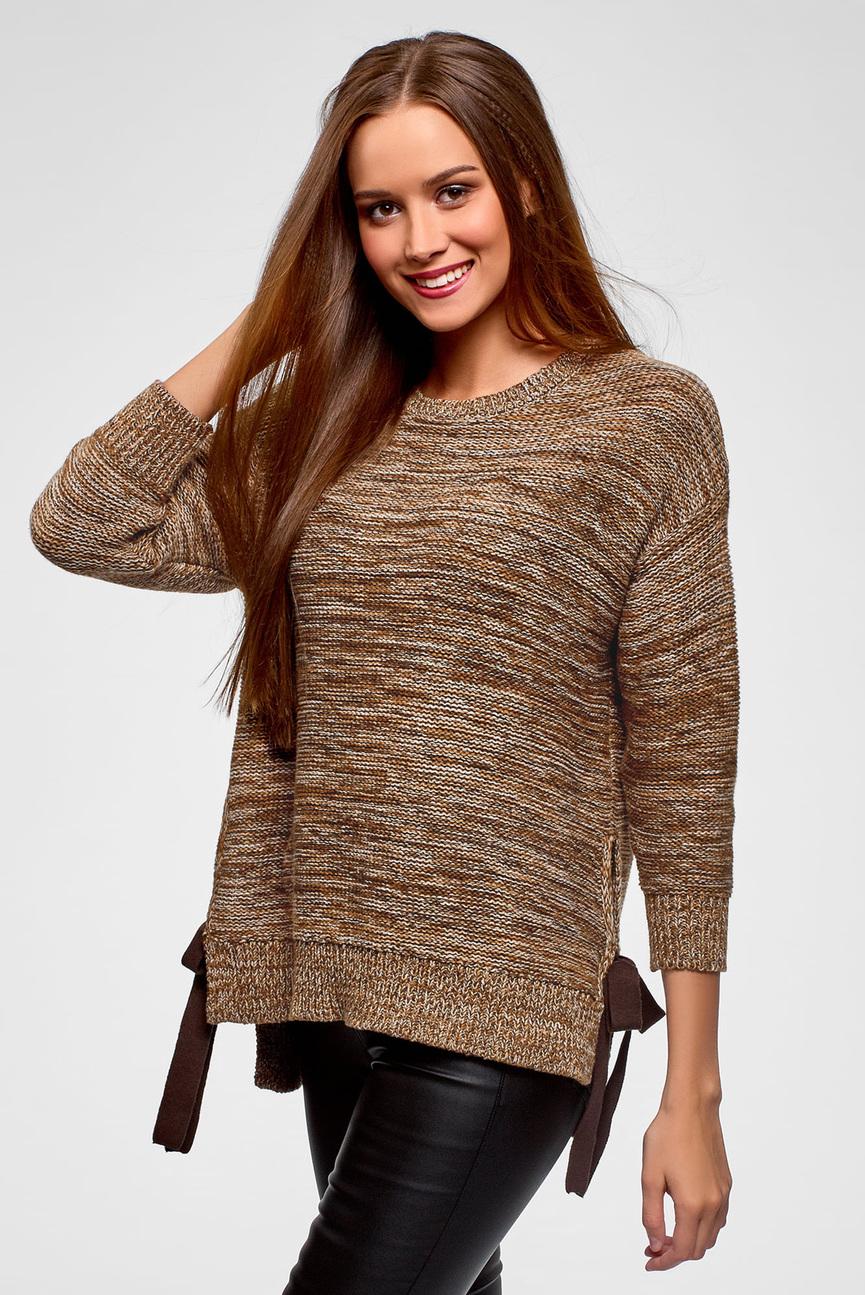 Женский коричневый свитер с завязками