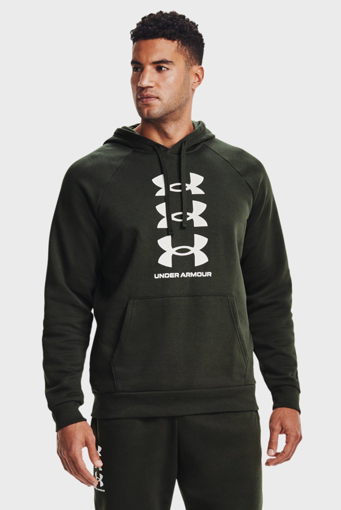 Мужское темно-зеленое худи UA Rival Fleece Sport Ins HD 1