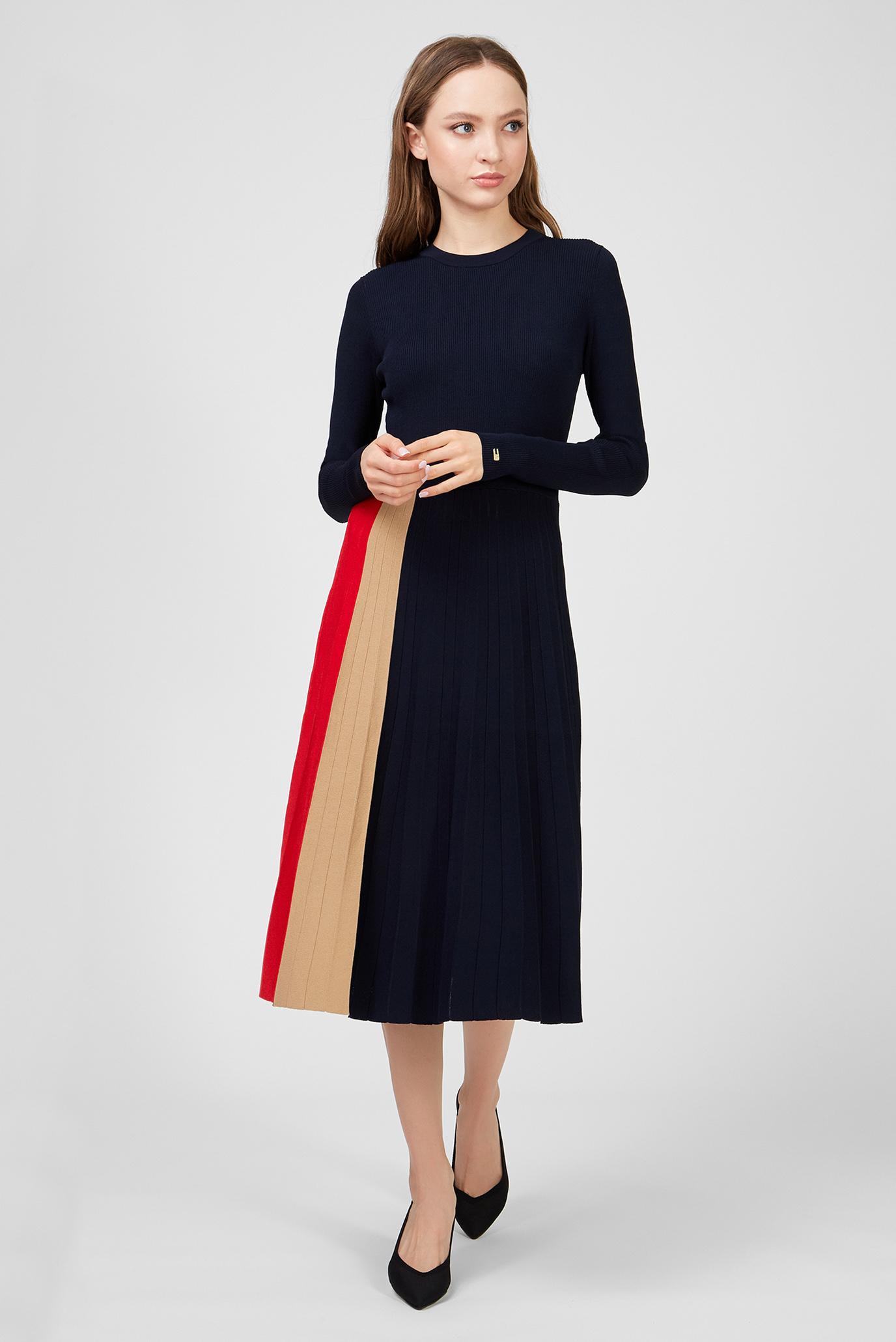 Женское темно-синее платье ICON PLEATED Tommy Hilfiger