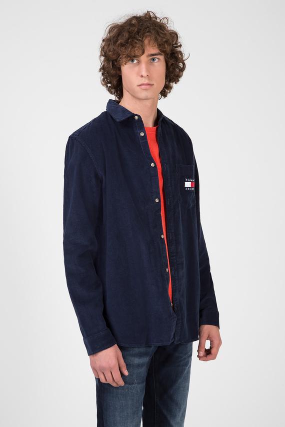 Мужская темно-синяя вельветовая рубашка TJM CORD