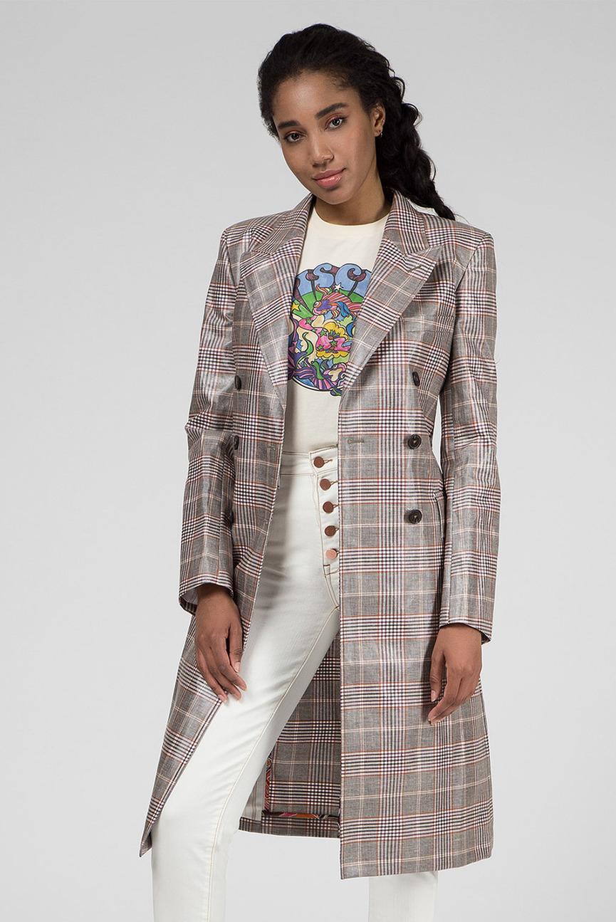 Женское двубортное пальто в клетку ZENDAYA