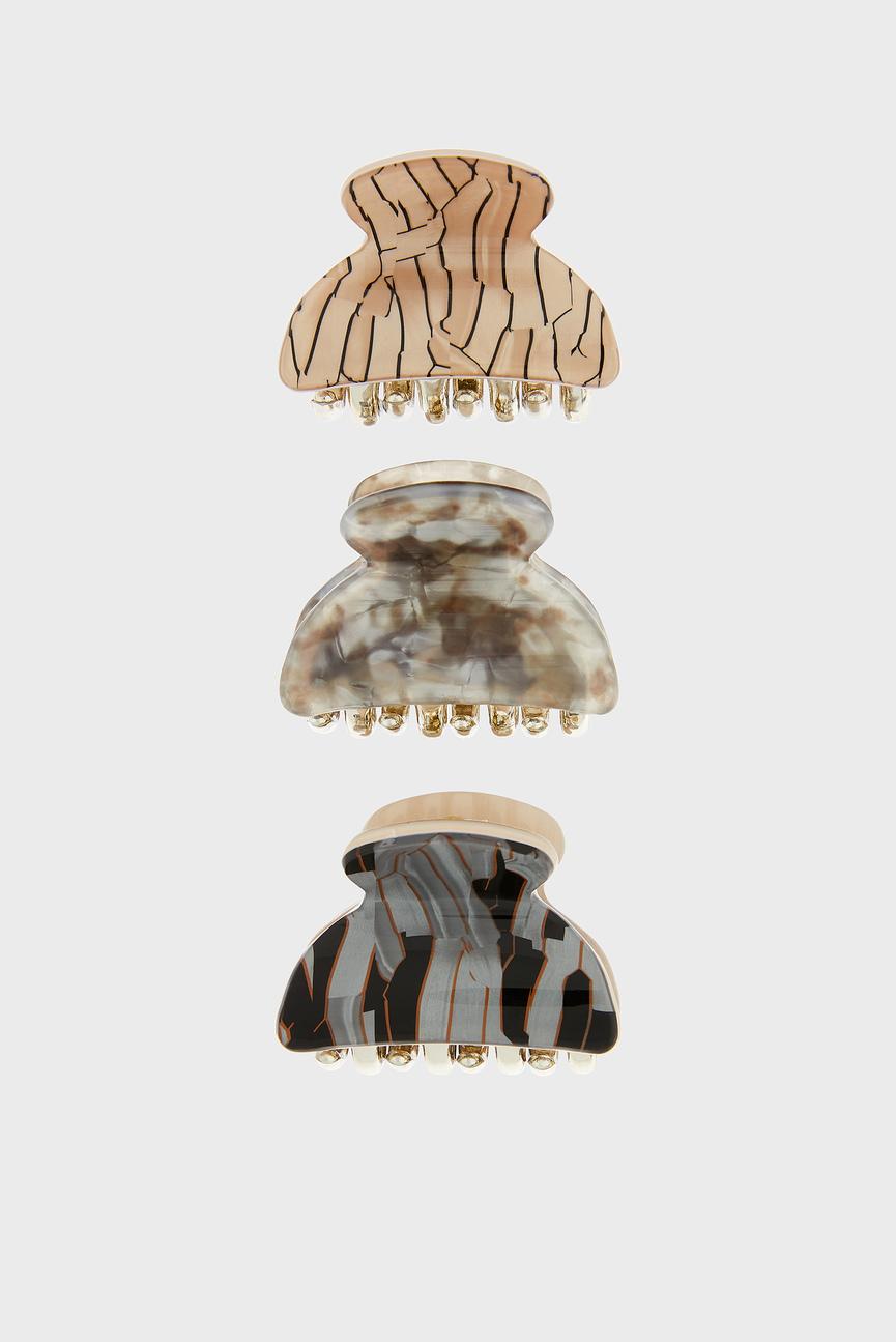 Набор зажимов для волос (3 шт) METALLIC MARBLE