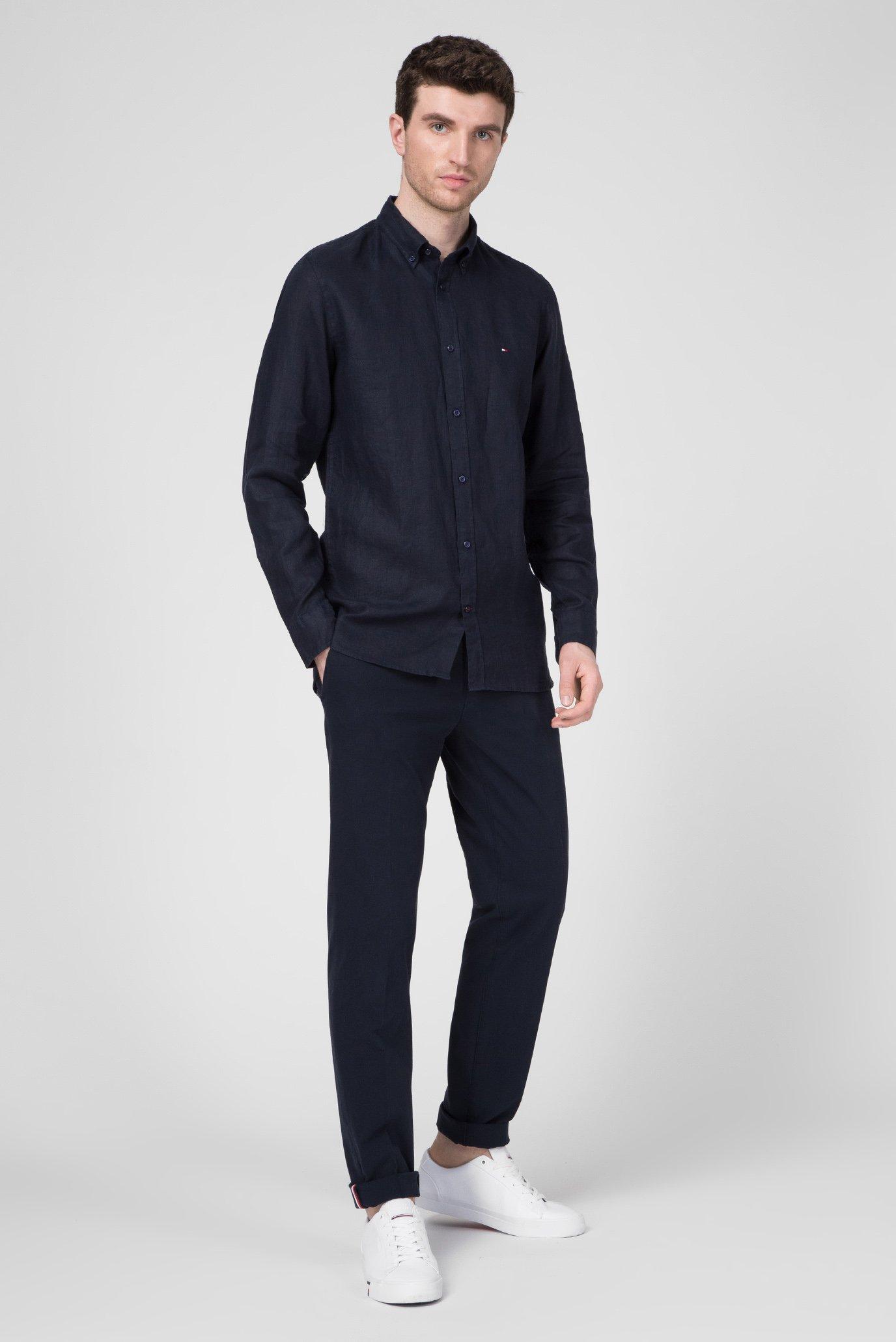 Мужская темно-синяя льняная рубашка  SLIM SOLID LINEN SHIRT Tommy Hilfiger