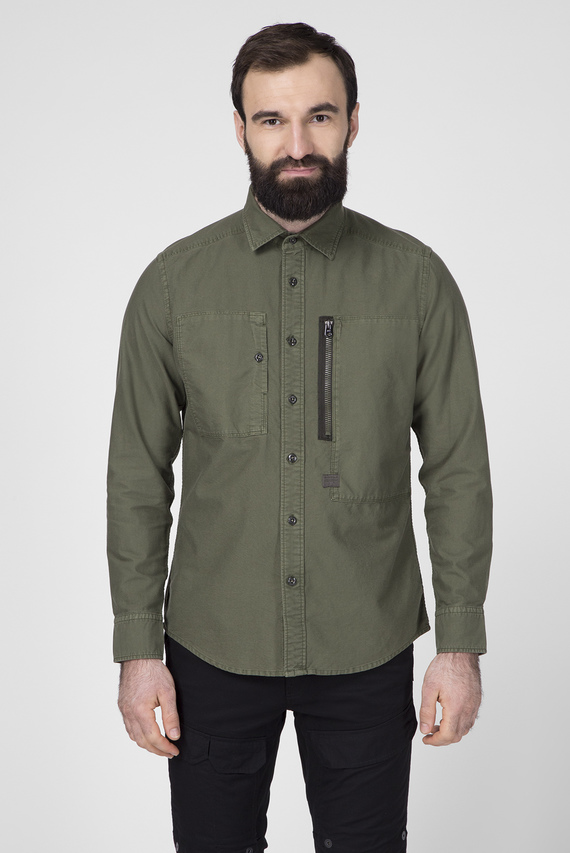 Мужская зеленая рубашка Powel Slim