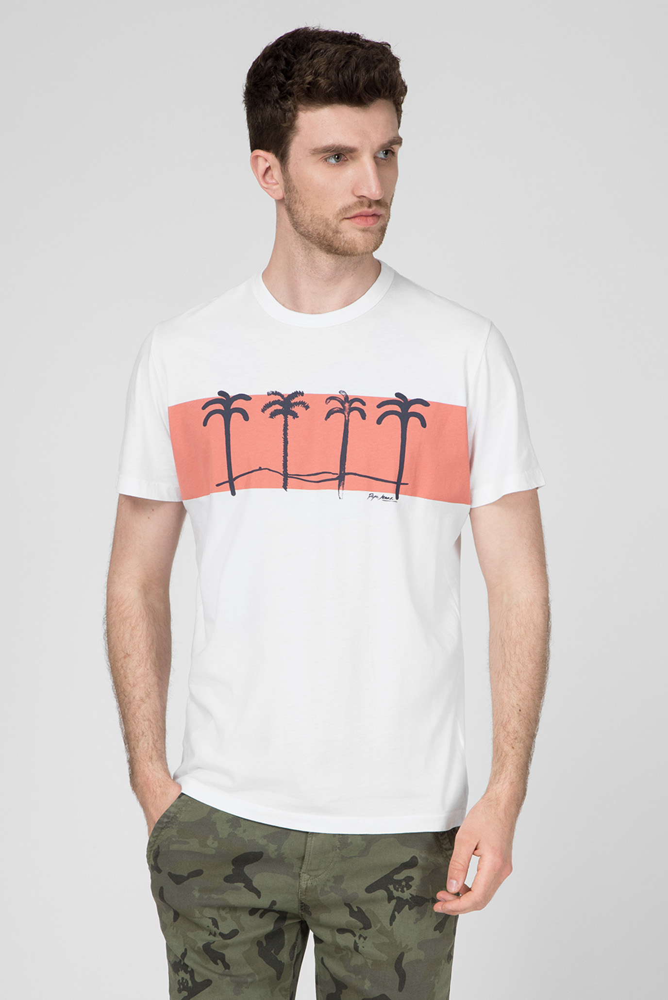 Мужская белая футболка с принтом JOOLS Regular Fit Pepe Jeans