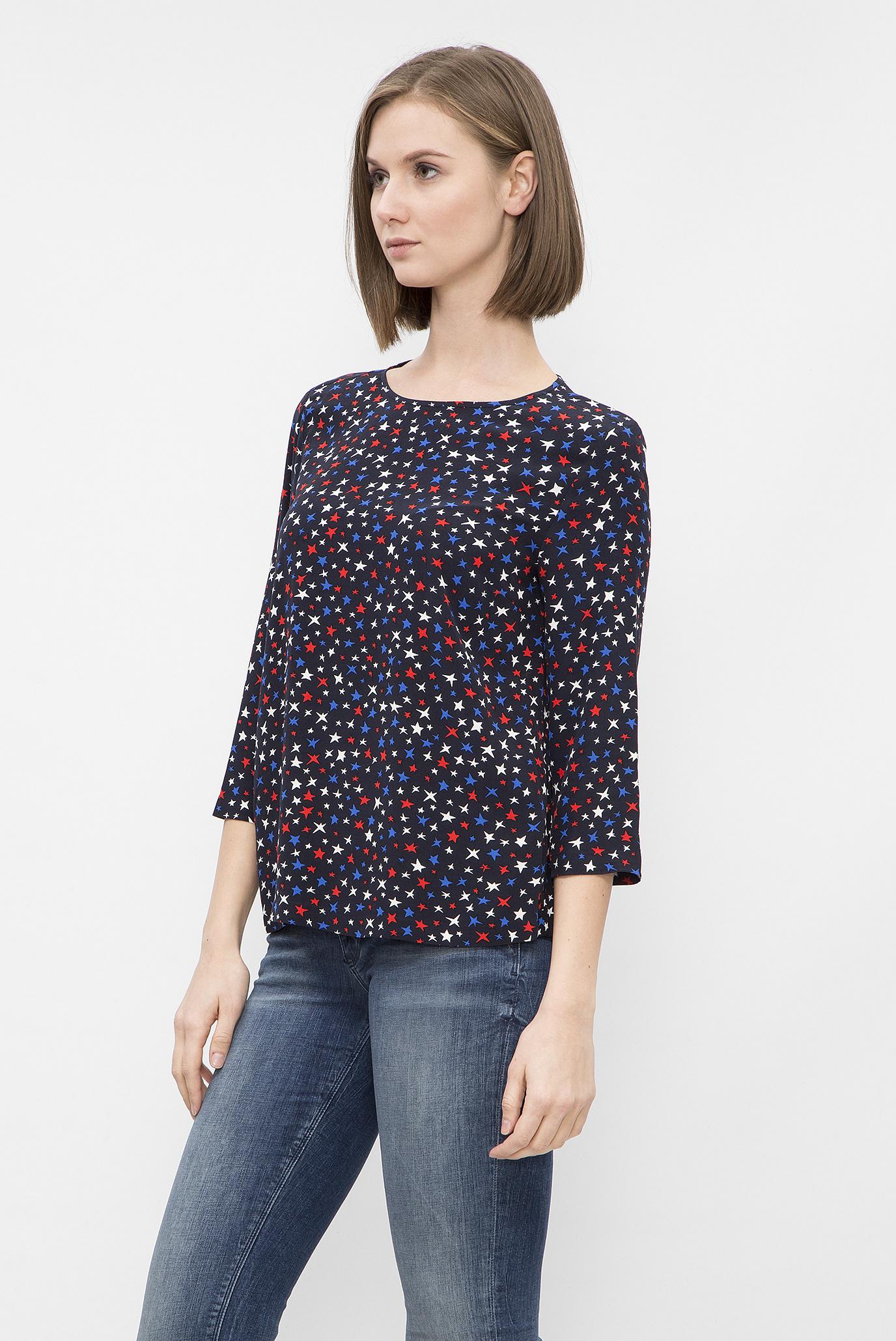 Купить Женская темно-синяя блуза с принтом Tommy Hilfiger Tommy Hilfiger WW0WW21008 – Киев, Украина. Цены в интернет магазине MD Fashion