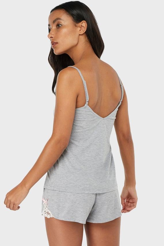 Женская серая пижама (шорты, майка) Teya Plain Vest Set