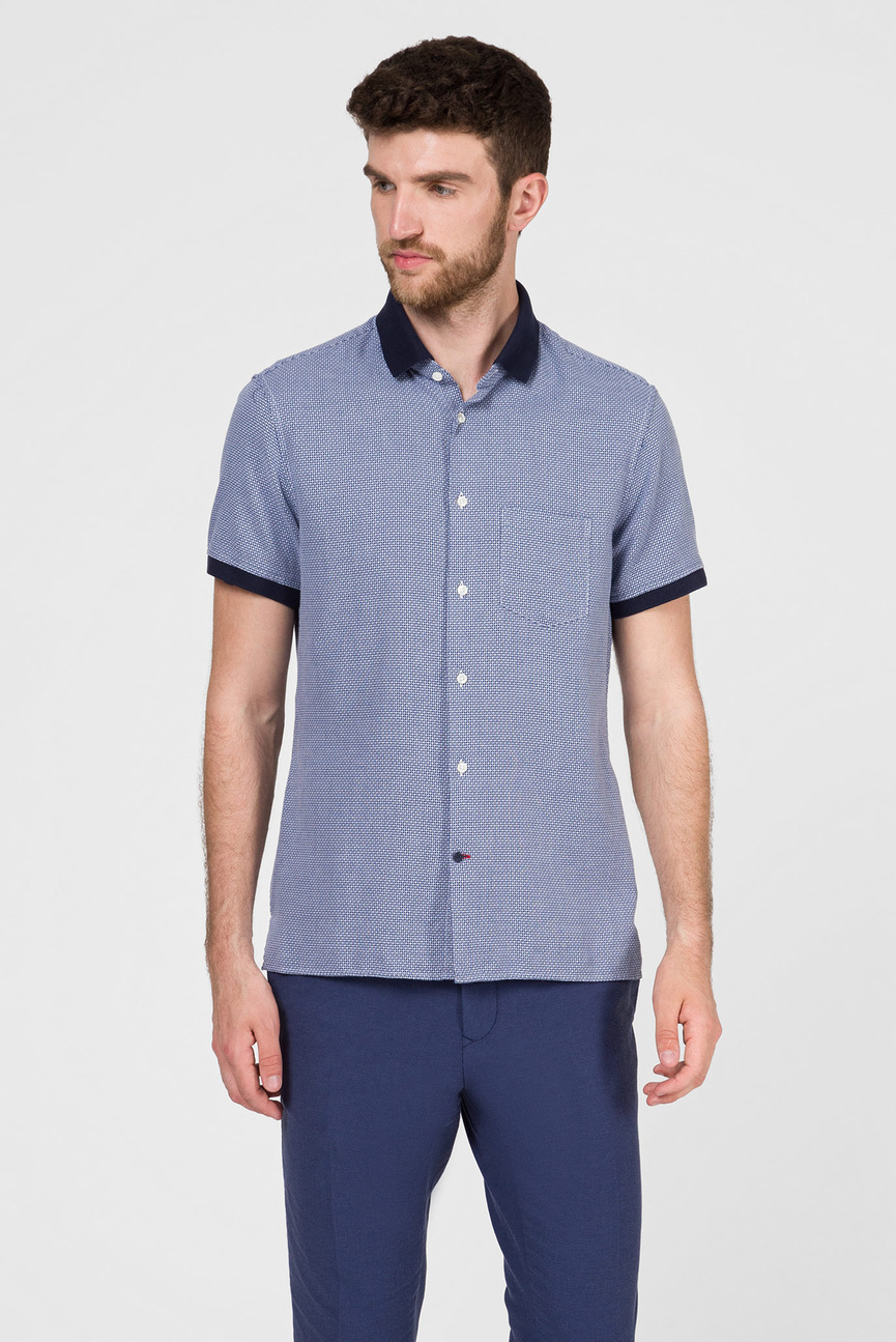 Мужская синяя рубашка WASHED SLIM FIT