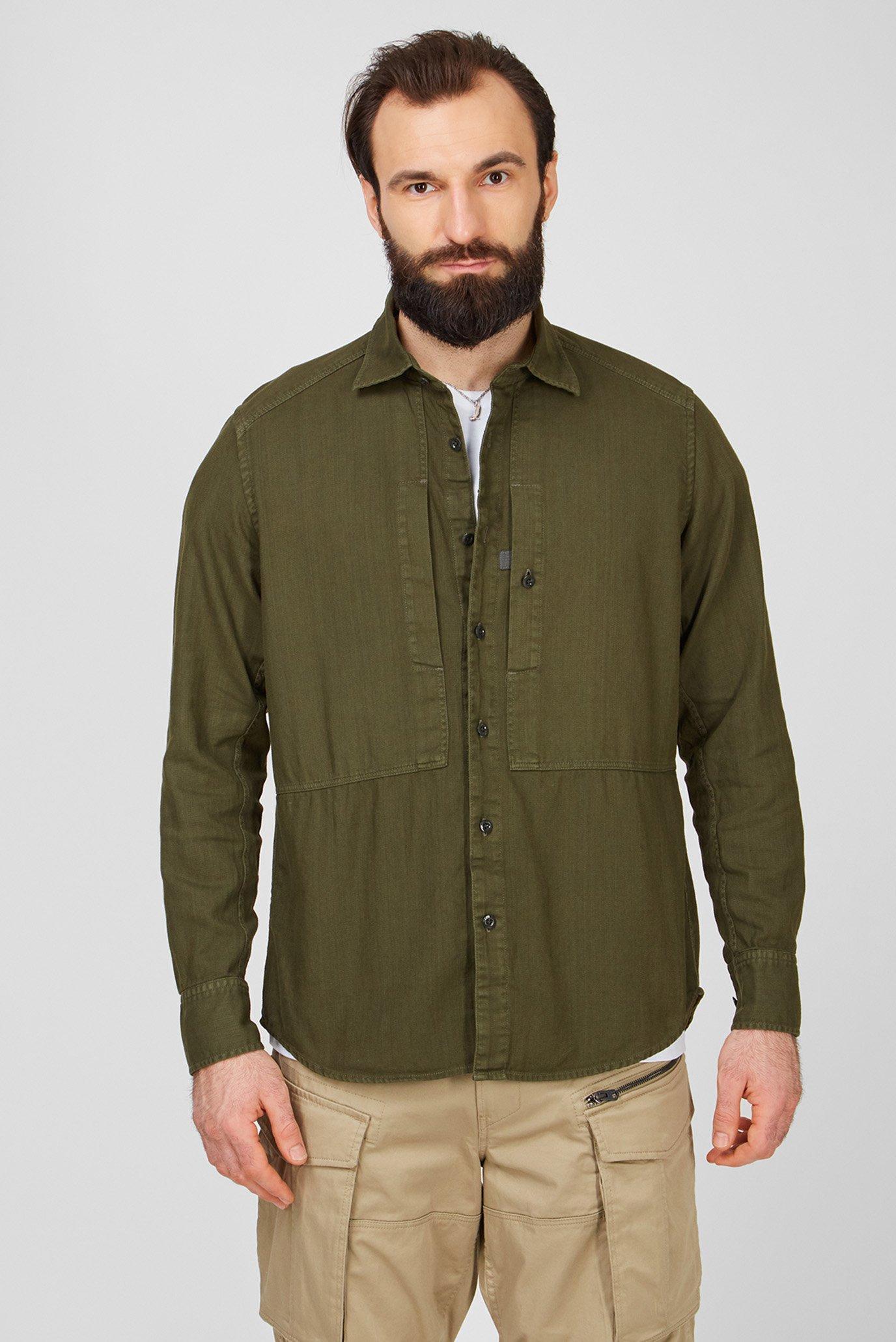 Чоловіча зелена сорочка Panelled Pkt 1