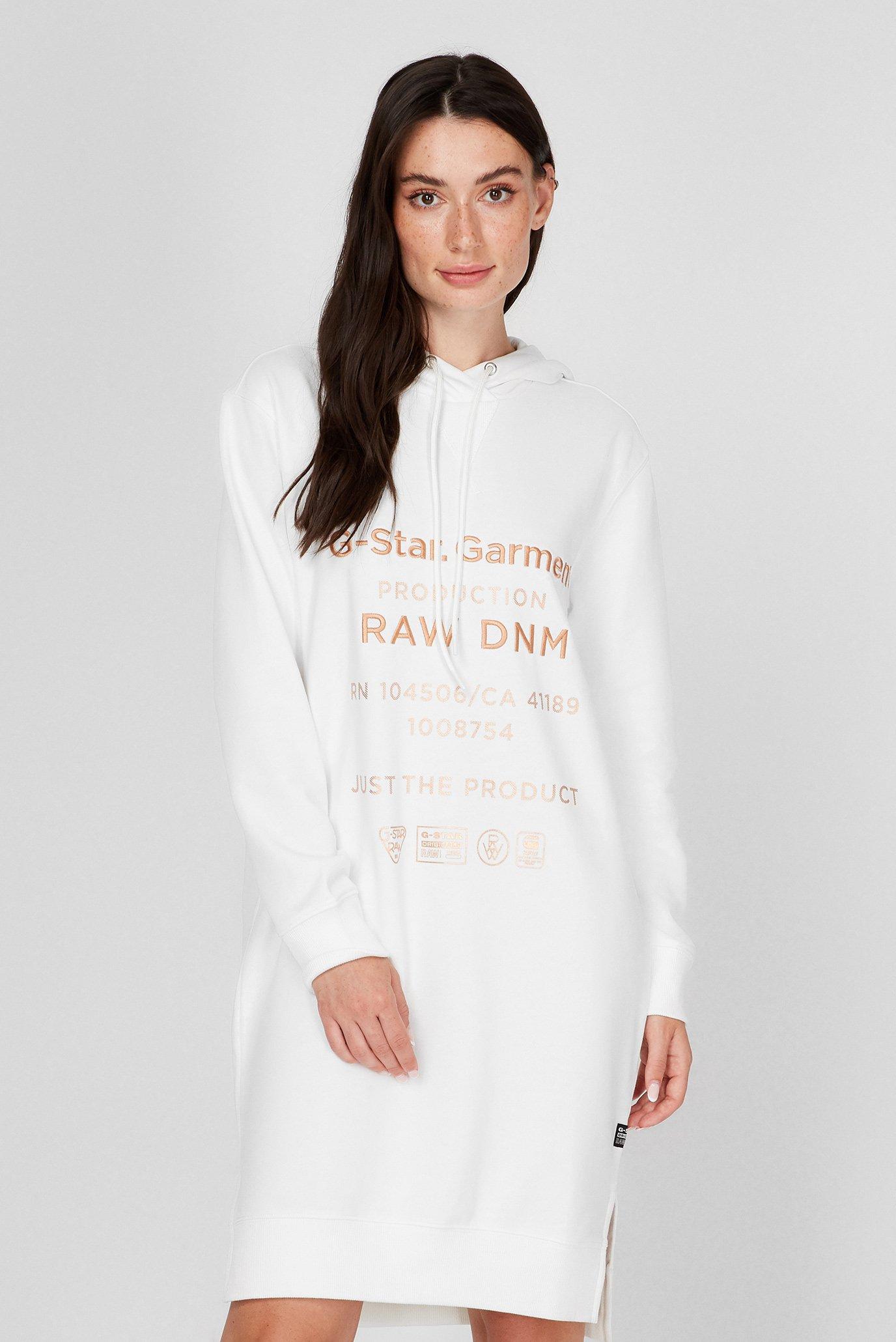 Женское белое платье-худи Graphic text 1