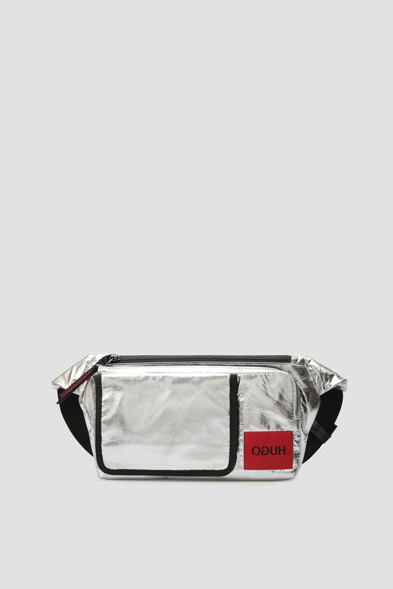 Мужская серебристая поясная сумка