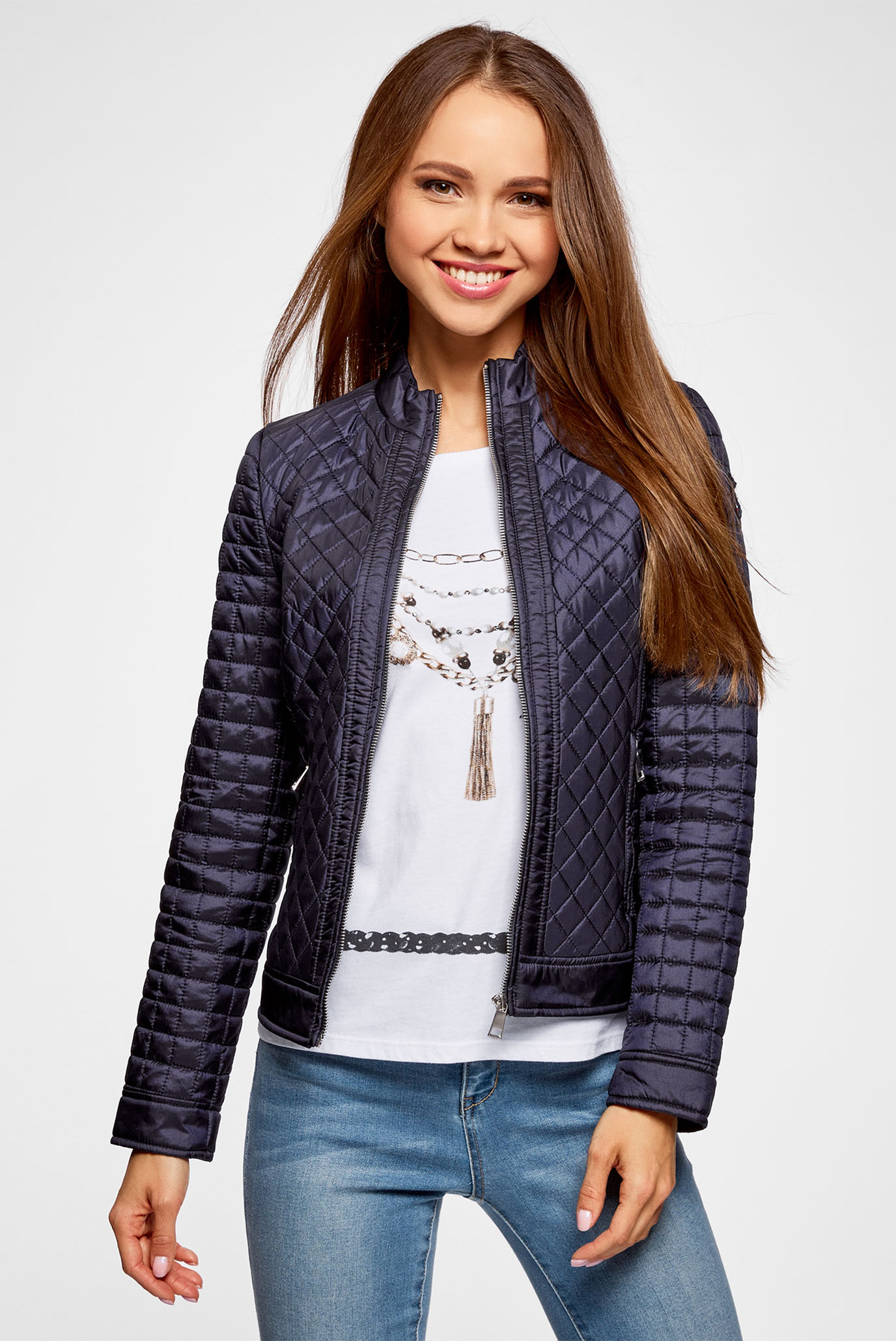 aeca7bdccf6 Купить Женская синяя стеганая куртка Oodji Oodji 28304005 45684 7900N –  Киев
