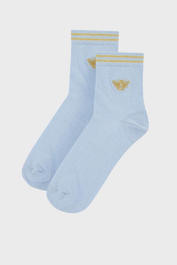 Женские голубые носки Bee Happy Embroidere