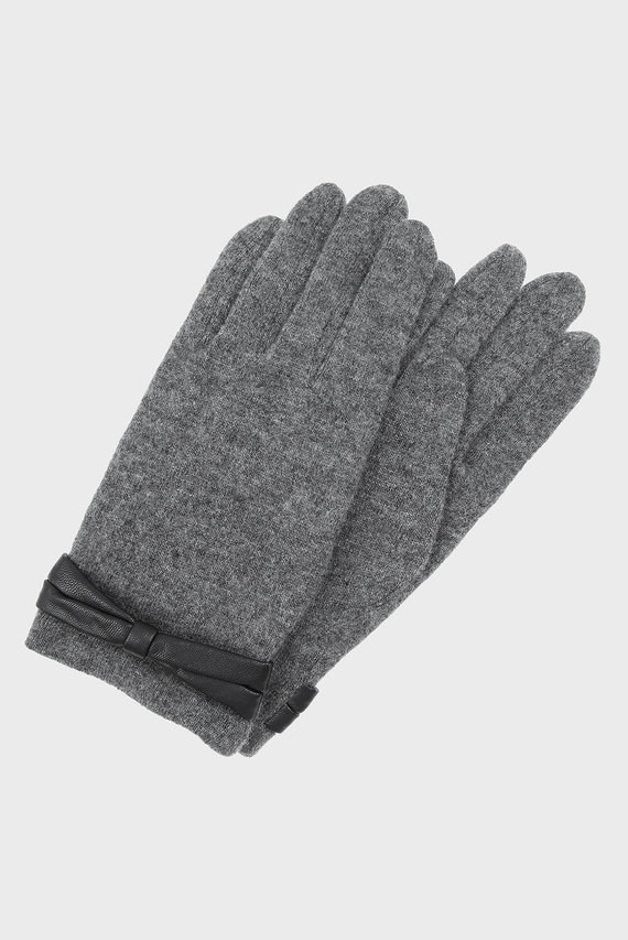 Женские серые перчатки WOOL GLOVE WITH BOW