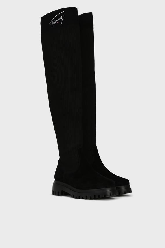 Женские черные замшевые ботфорты TOMMY SIGNATURE LONG