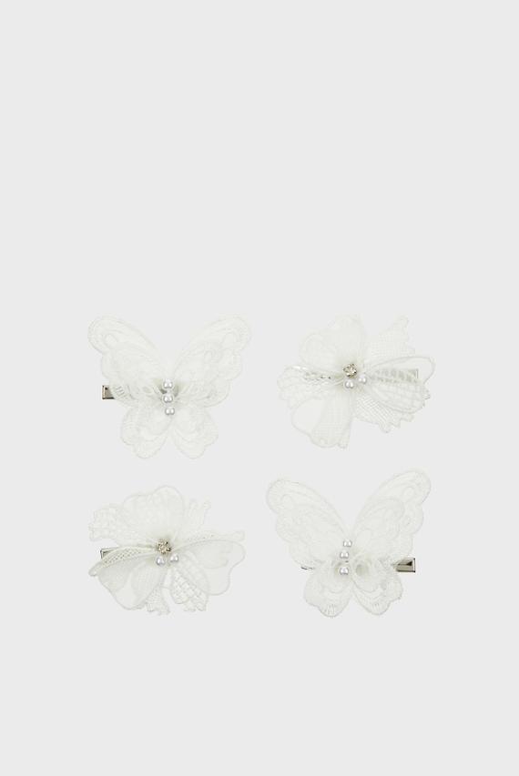 Детские белые заколки (4 шт)  Mixed Lacey Clip