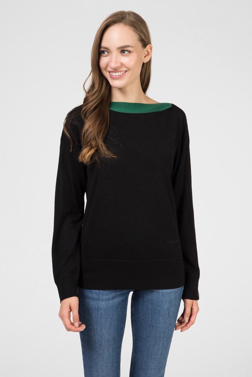 Женский черный шерстяной свитер