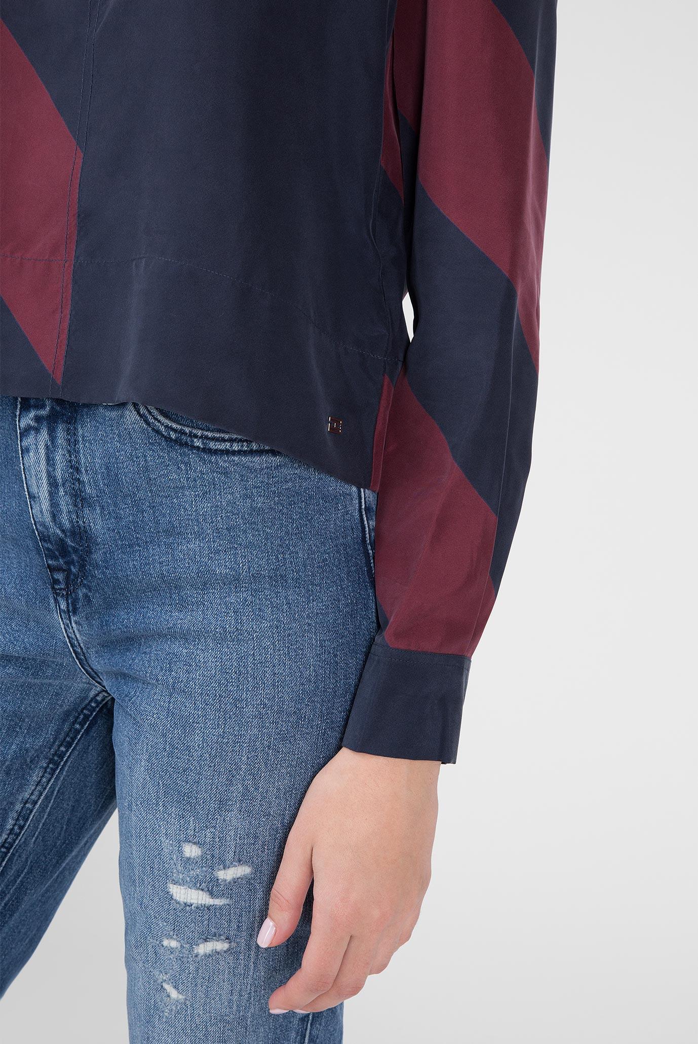 Купить Женская темно-синяя блуза ICON CROPPED SILK BLOUSE Tommy Hilfiger Tommy Hilfiger WW0WW23730 – Киев, Украина. Цены в интернет магазине MD Fashion