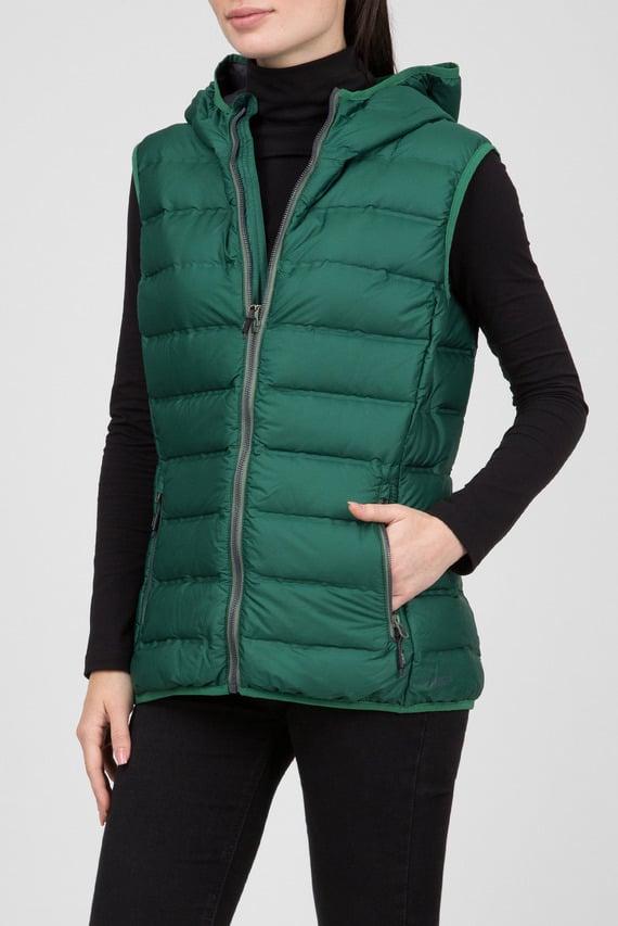 Женский зеленый пуховый жилет