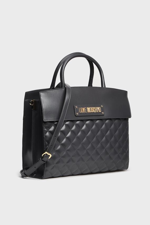 Женская темно-серая сумка на плечо BORSA QUILTED NAPPA