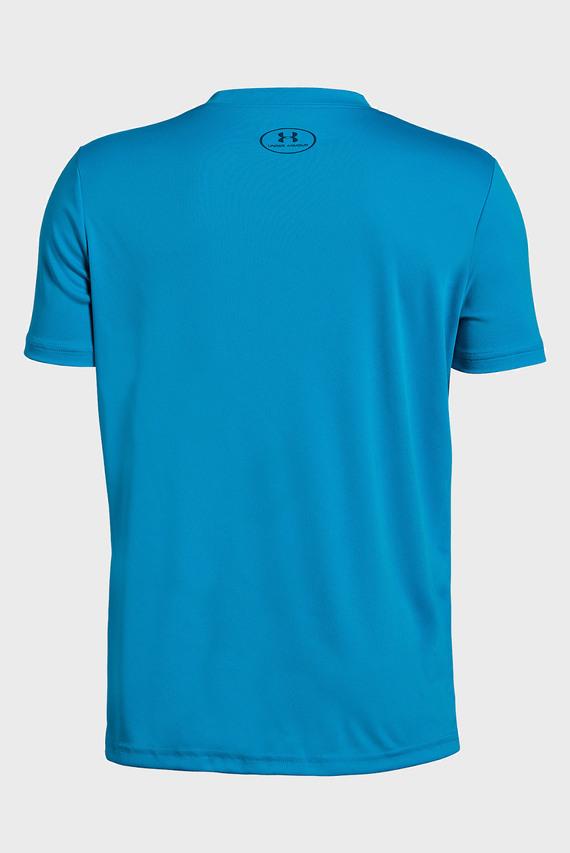 Детская синяя футболка с принтом Stepped Wordmark SS
