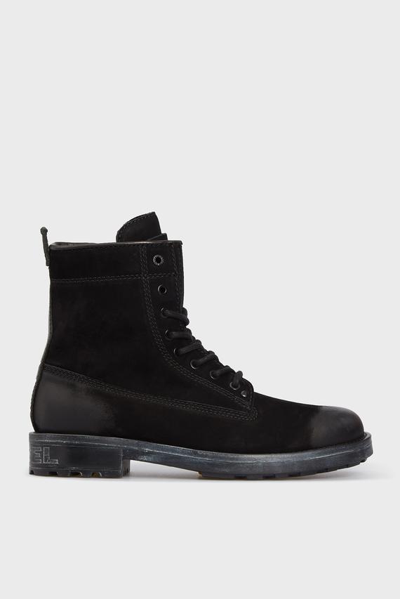 Мужские черные кожаные ботинки THROUPER