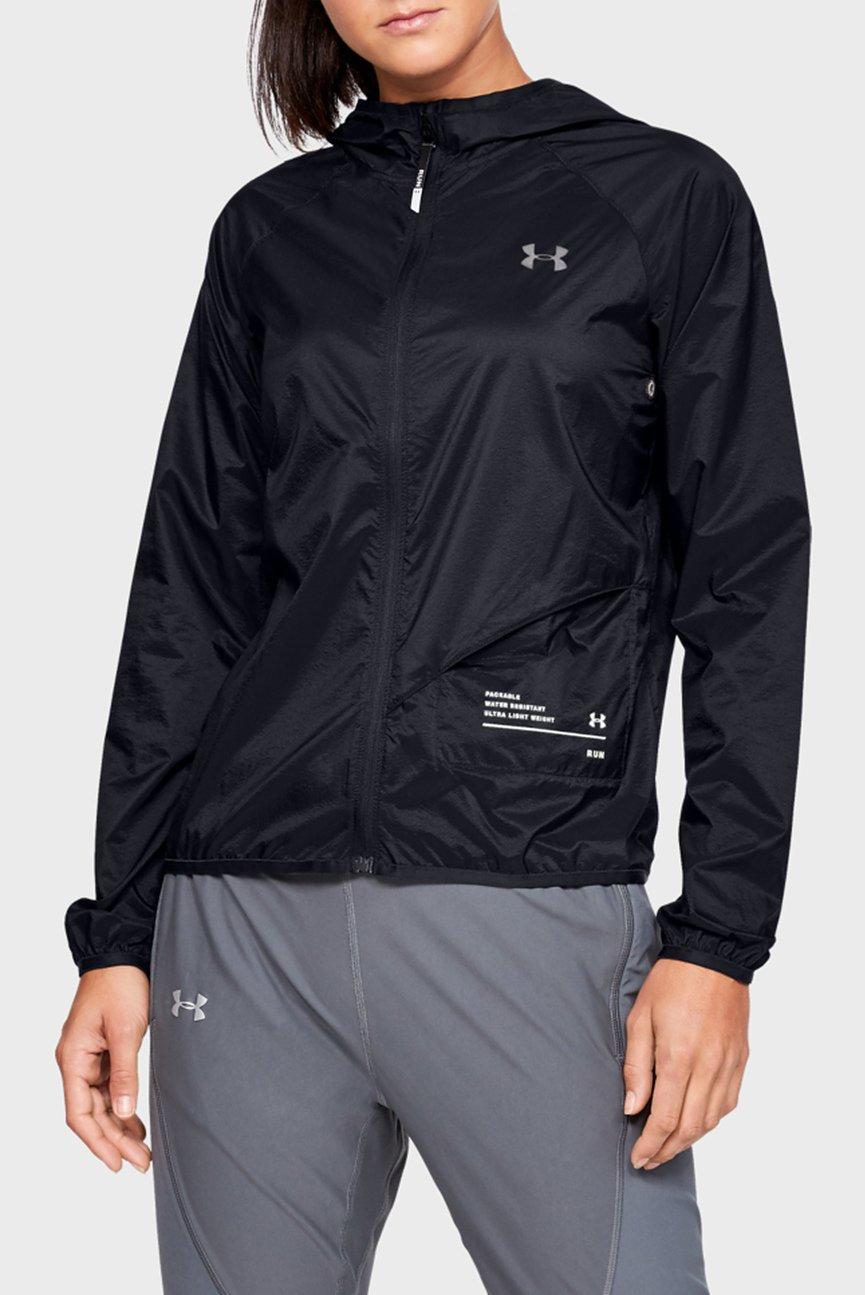 Женская черная ветровка UA Qualifier Storm Packable Jacket