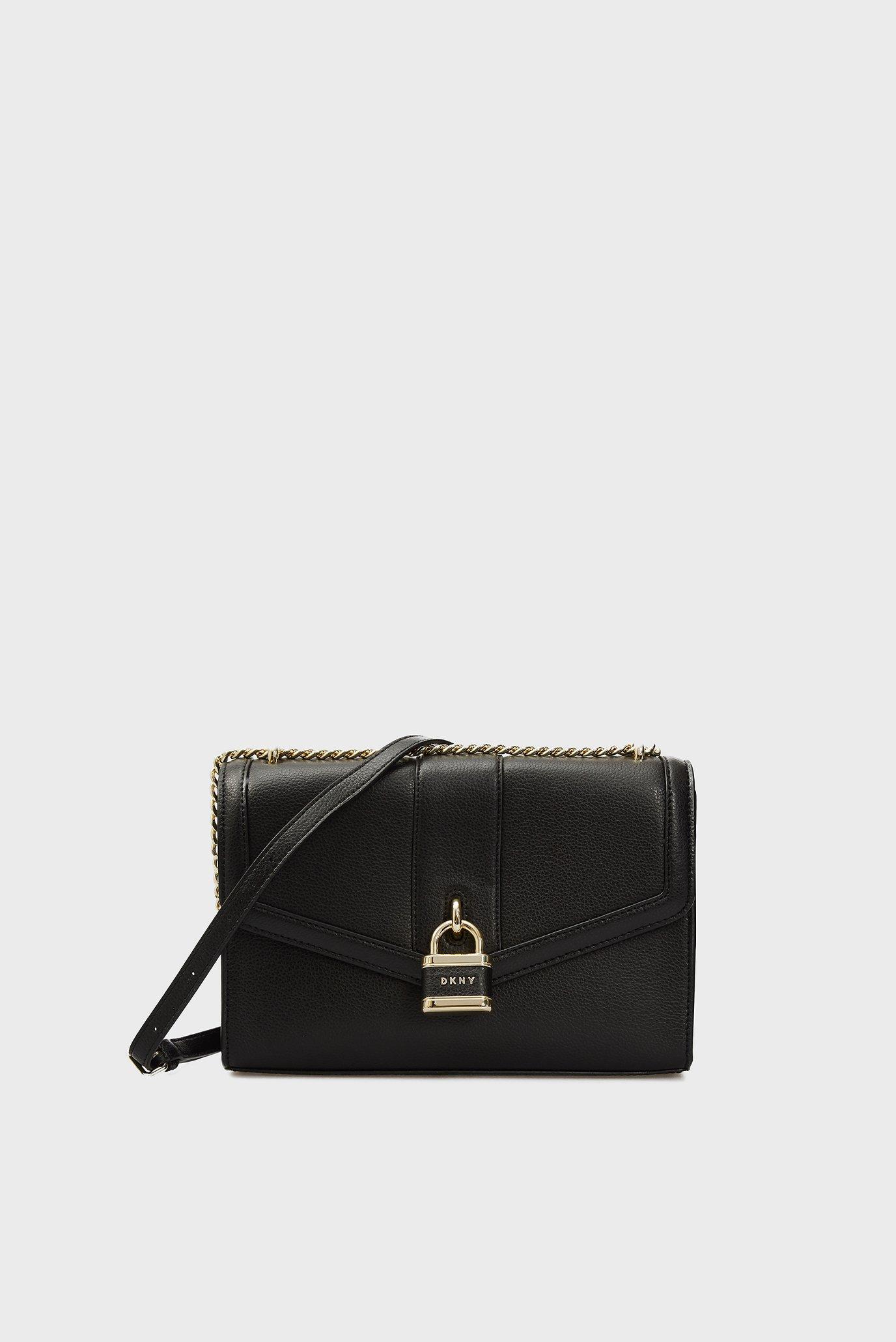 Женская черная кожаная сумка ELLA 1