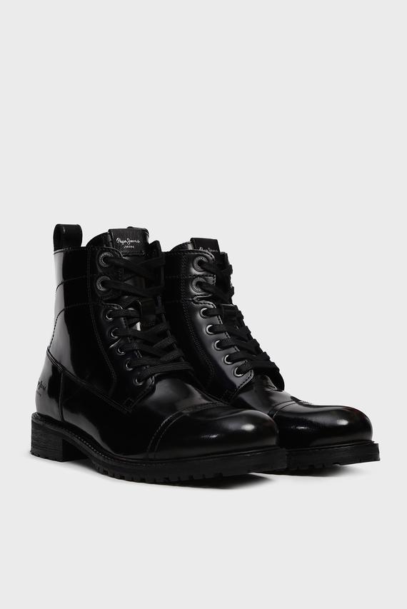 Женские черные кожаные ботинки MELTING BASS
