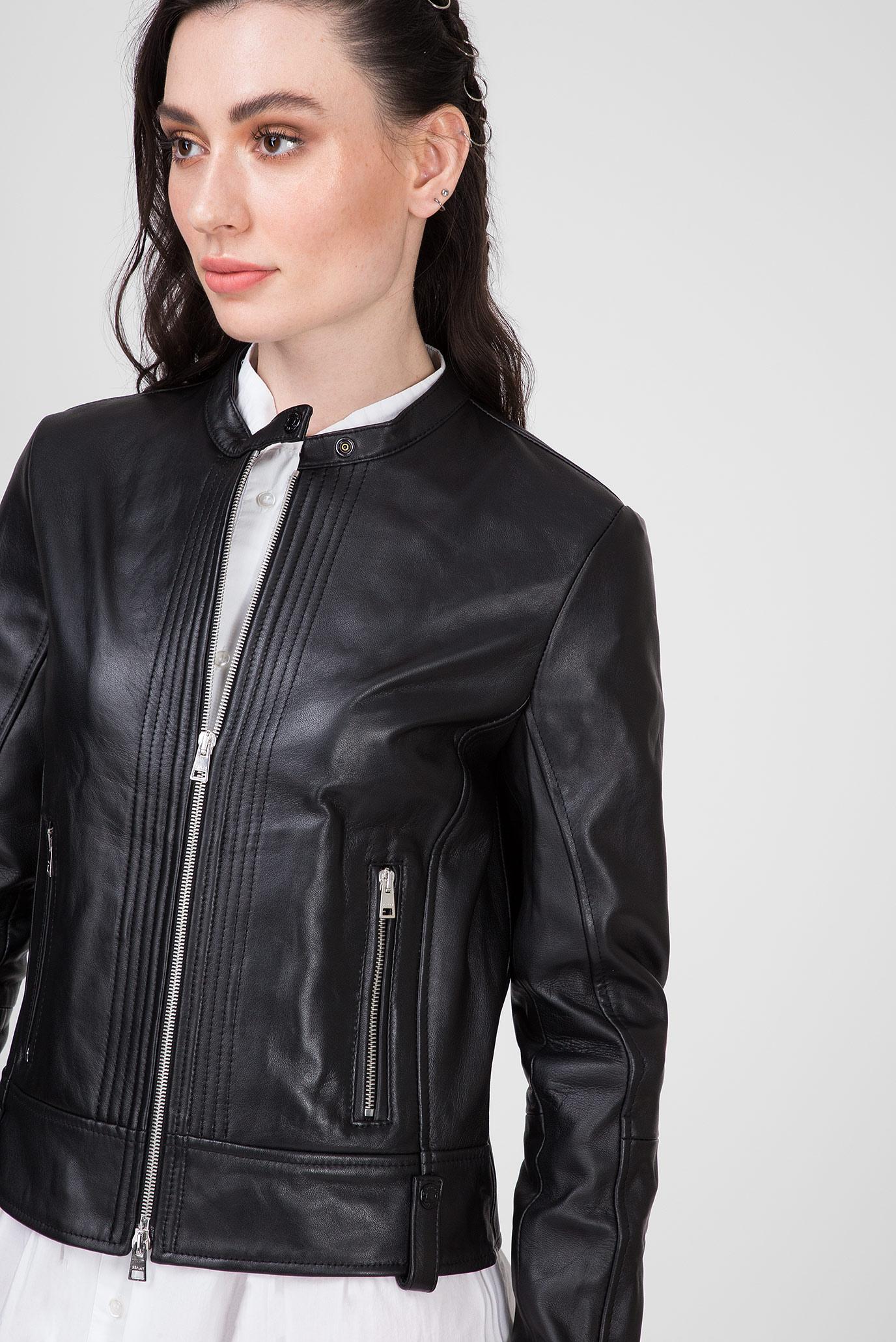 Женская черная кожаная куртка Replay