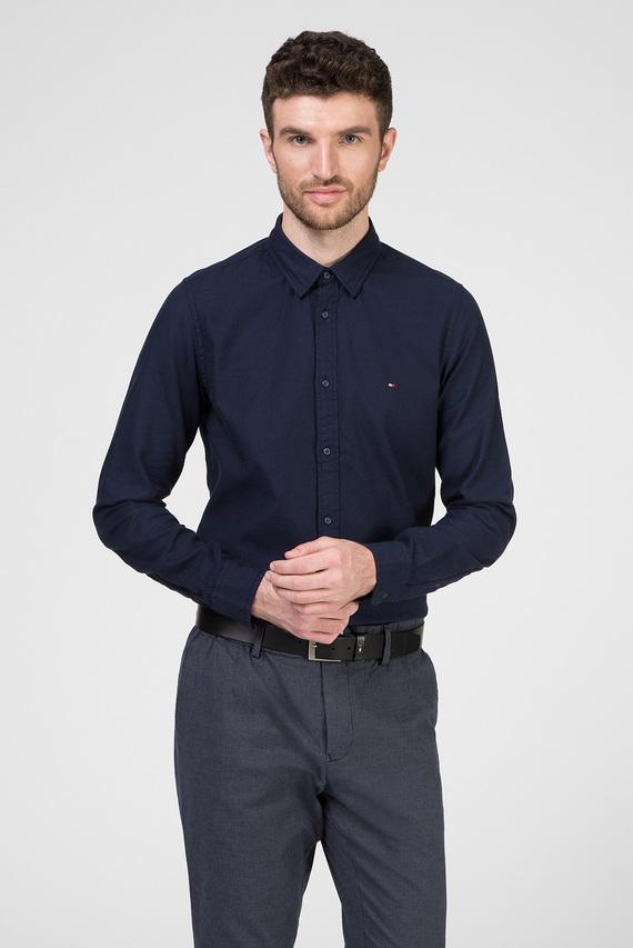 Мужская темно-синяя рубашка SLIM CLASSIC DOBBY