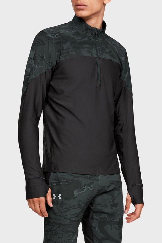 Мужская черная спортивная кофта UA QUALIFIER CAMO HALF