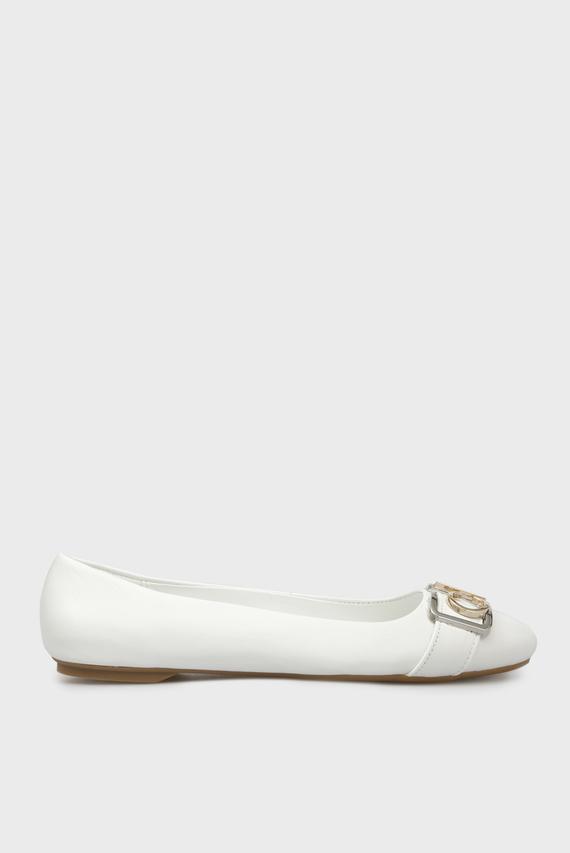 Женские белые кожаные балетки OMIE