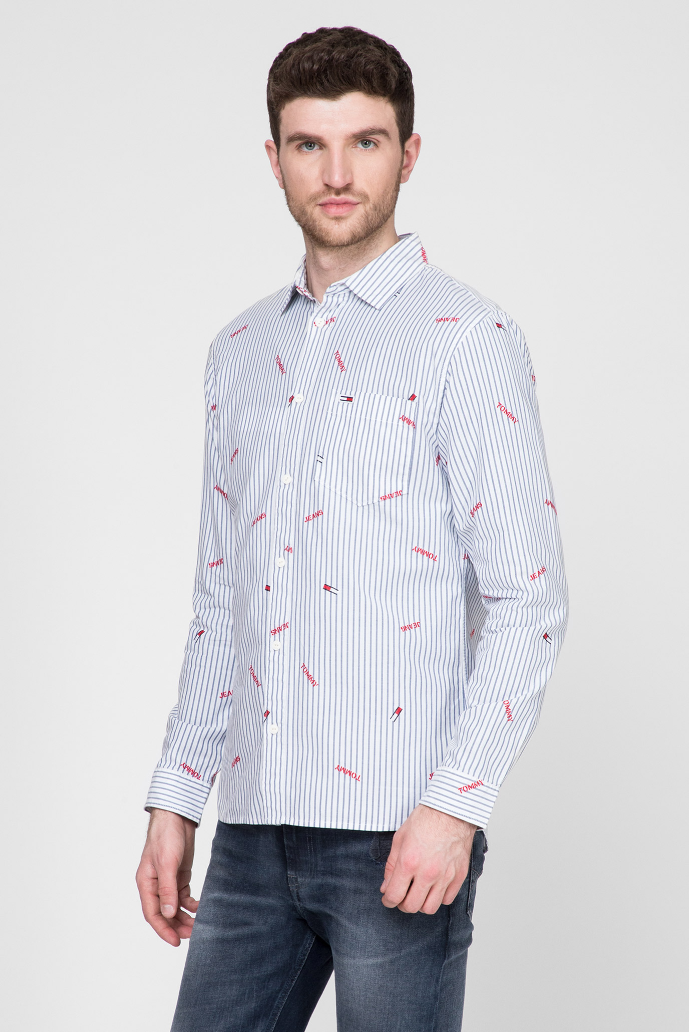 Мужская рубашка в полоску TJM BRANDED CHAMBRAY Tommy Hilfiger