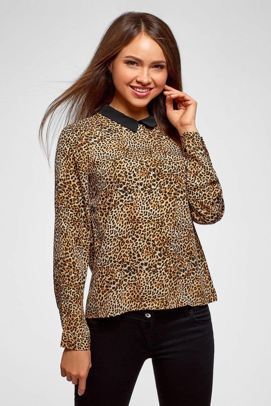 Женская коричневая блуза с принтом
