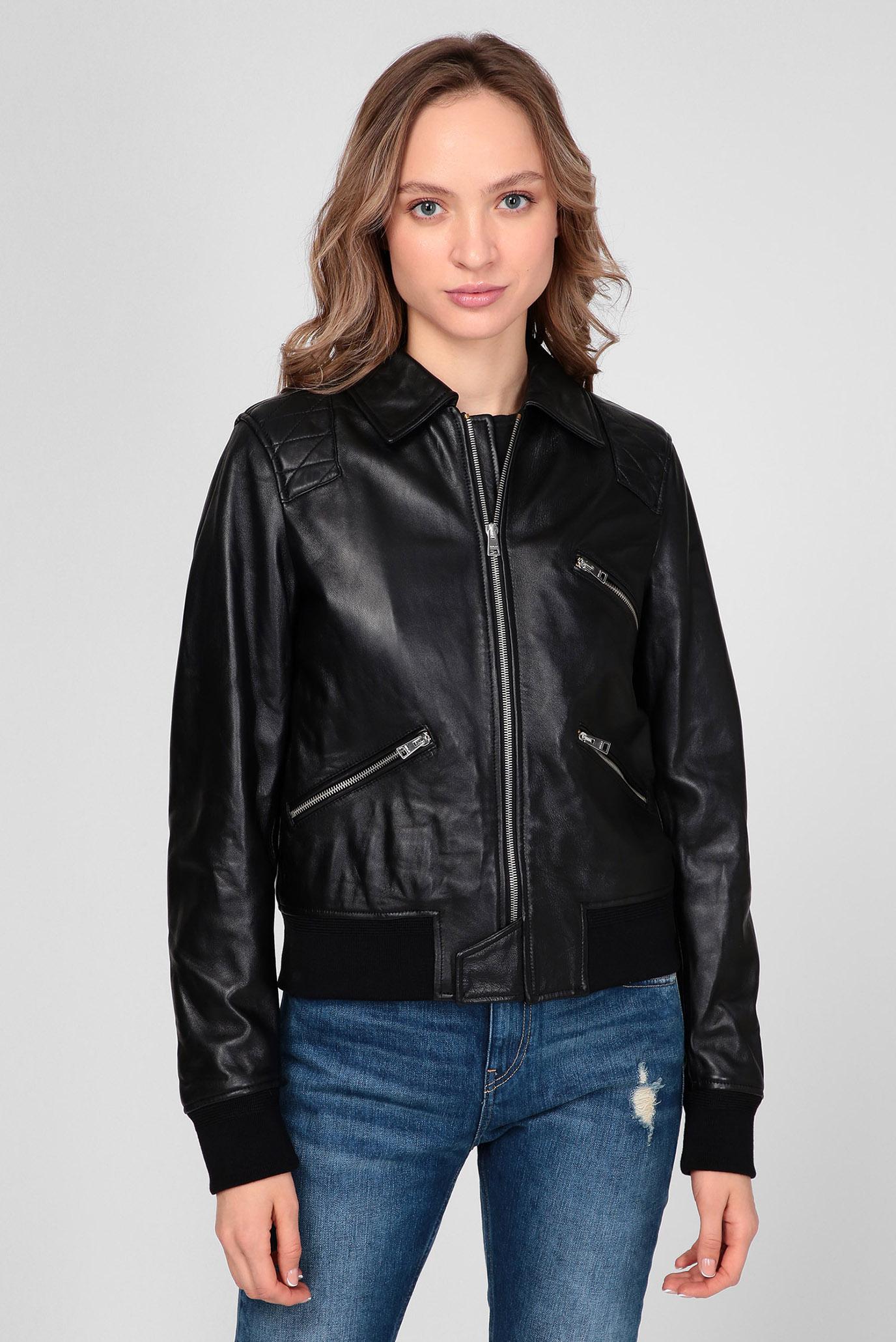 Жіноча чорна шкіряна куртка 1