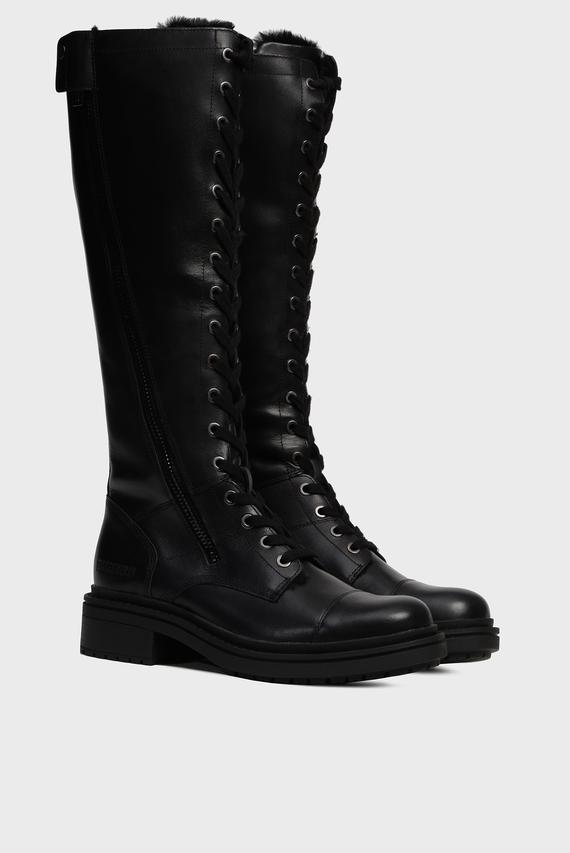 Женские черные кожаные  сапоги SAIDYA