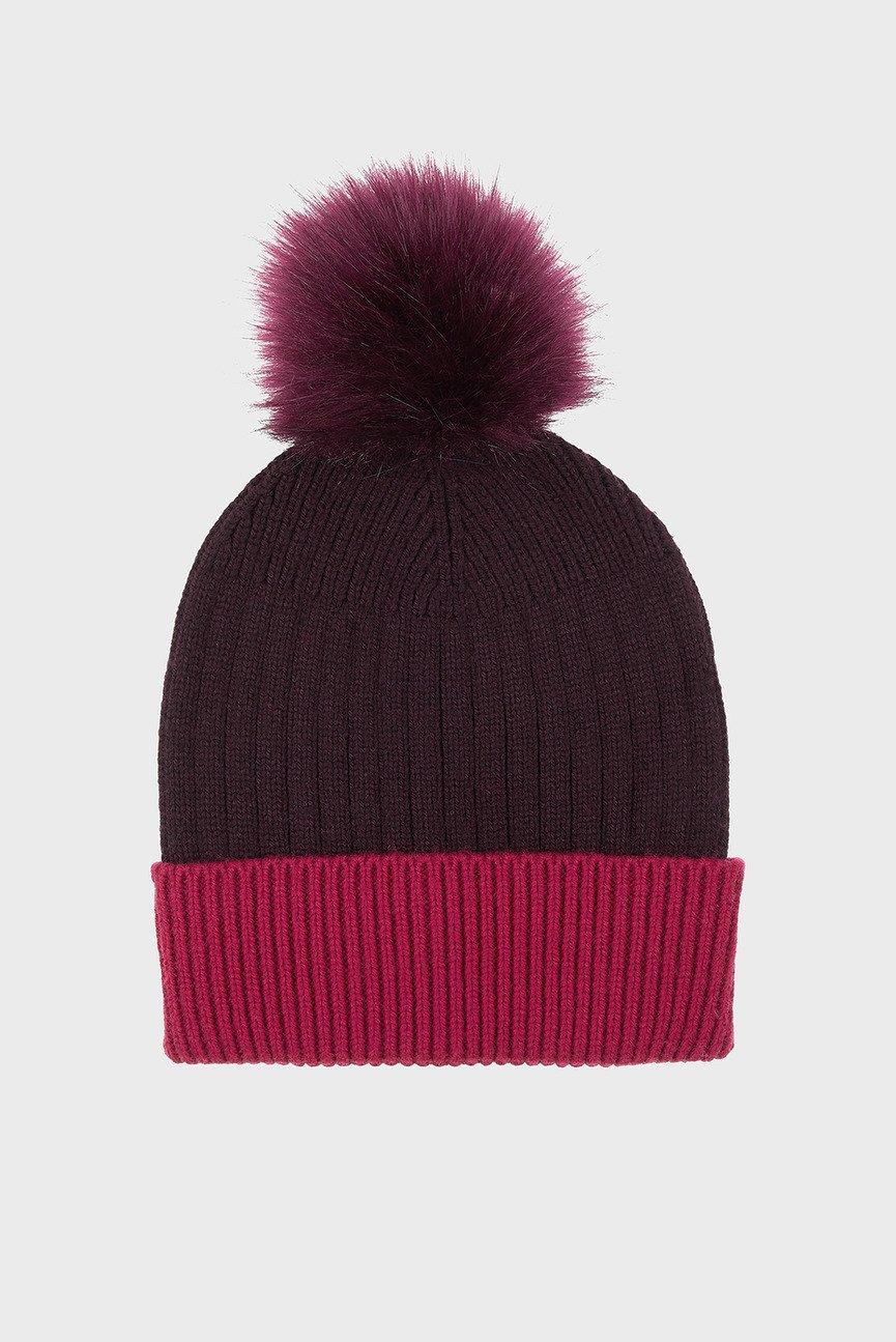 Женская бордовая шапка CONTRAST TURN UP FF