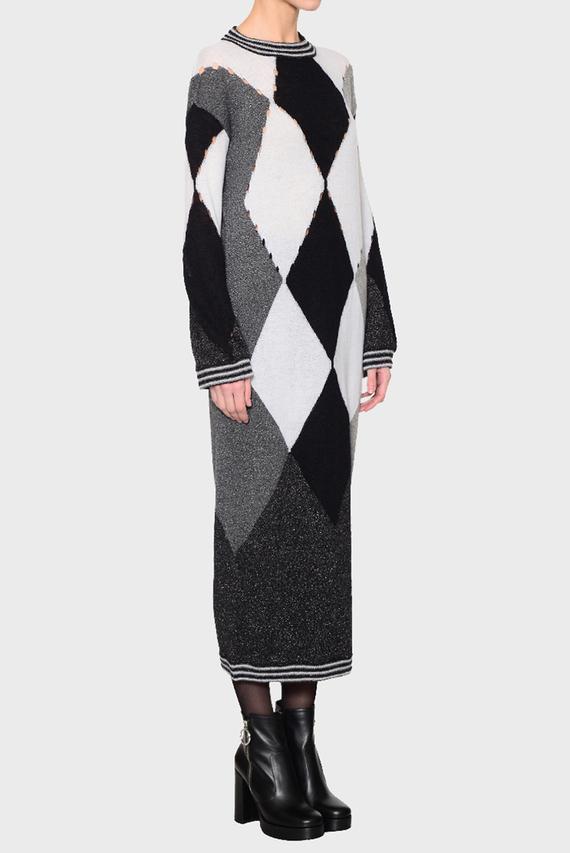 Женское черное платье ROUND NECK DRESS THROUGH DIAMO