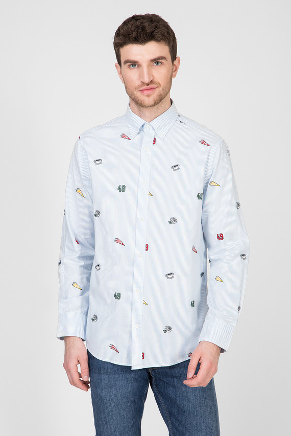 Мужская голубая рубашка в полоску EMBROIDERED OXF BANKER