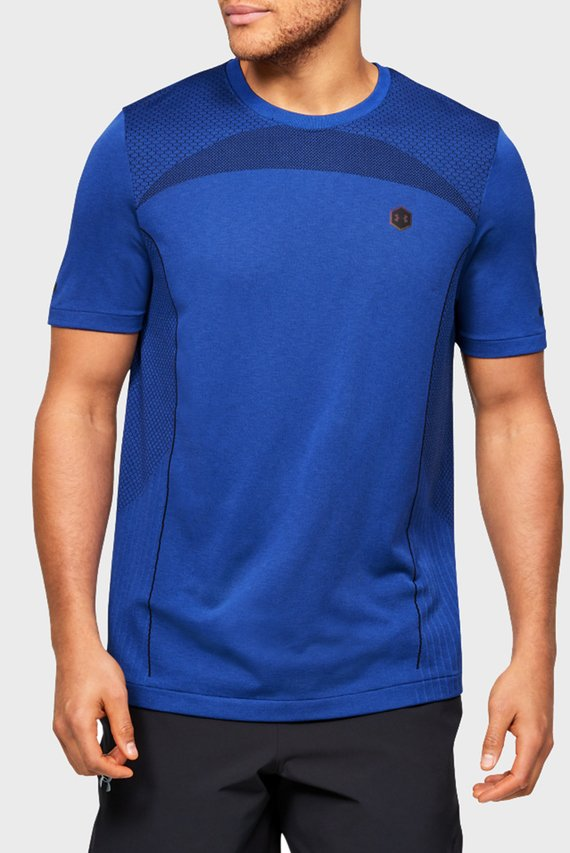 Мужская синяя спортивная футболка Rush HG Seamless Fitted SS
