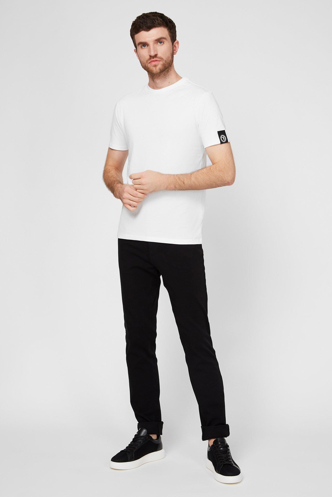 Мужская белая футболка с принтом REGULAR FIT Trussardi Jeans