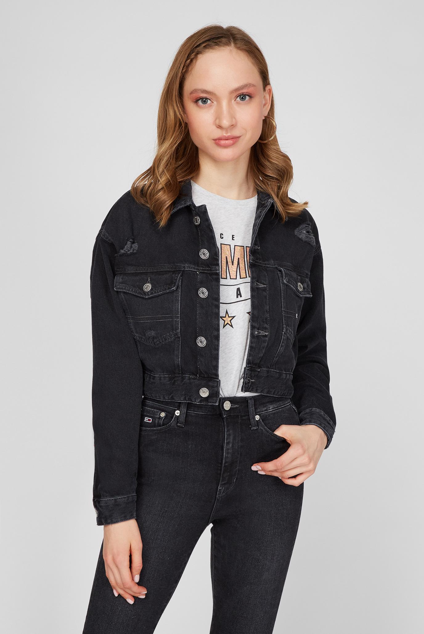 Женская черная джинсовая куртка CROPPED TRUCKER 1