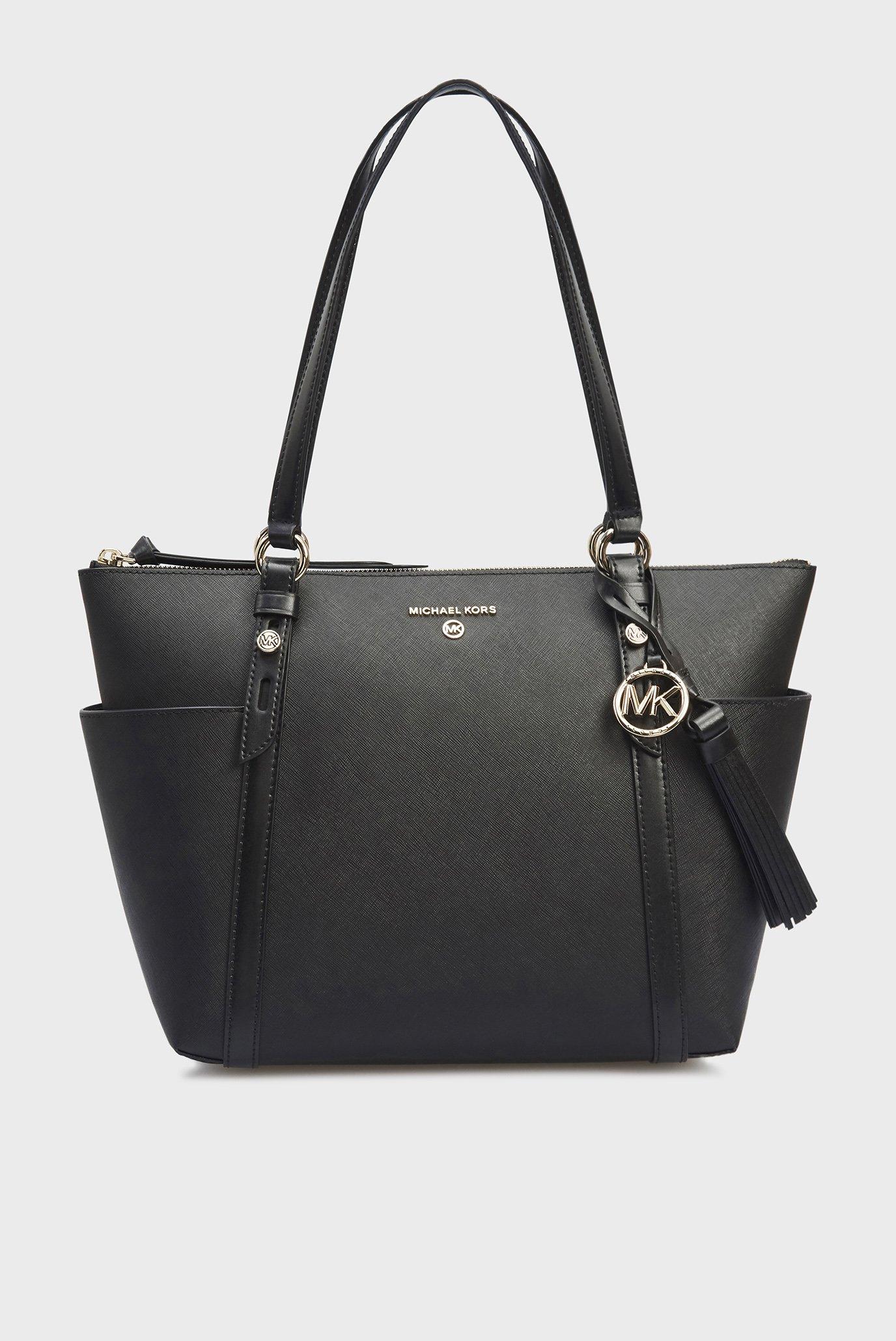 Жіноча чорна шкіряна сумка 1